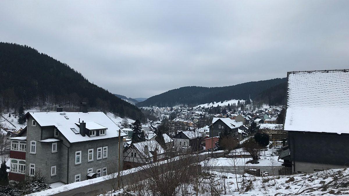 Blick Manebach Im Winter
