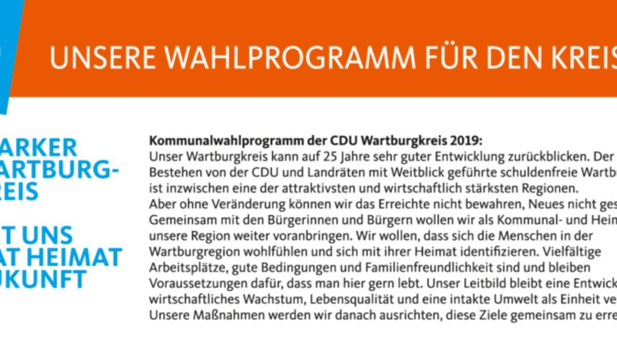 Kommunalwahlprogramm CDU Wartburgkreis 2019