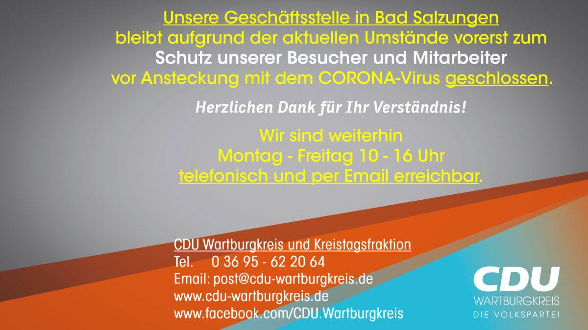 CDU Geschäftsstelle geschlossen