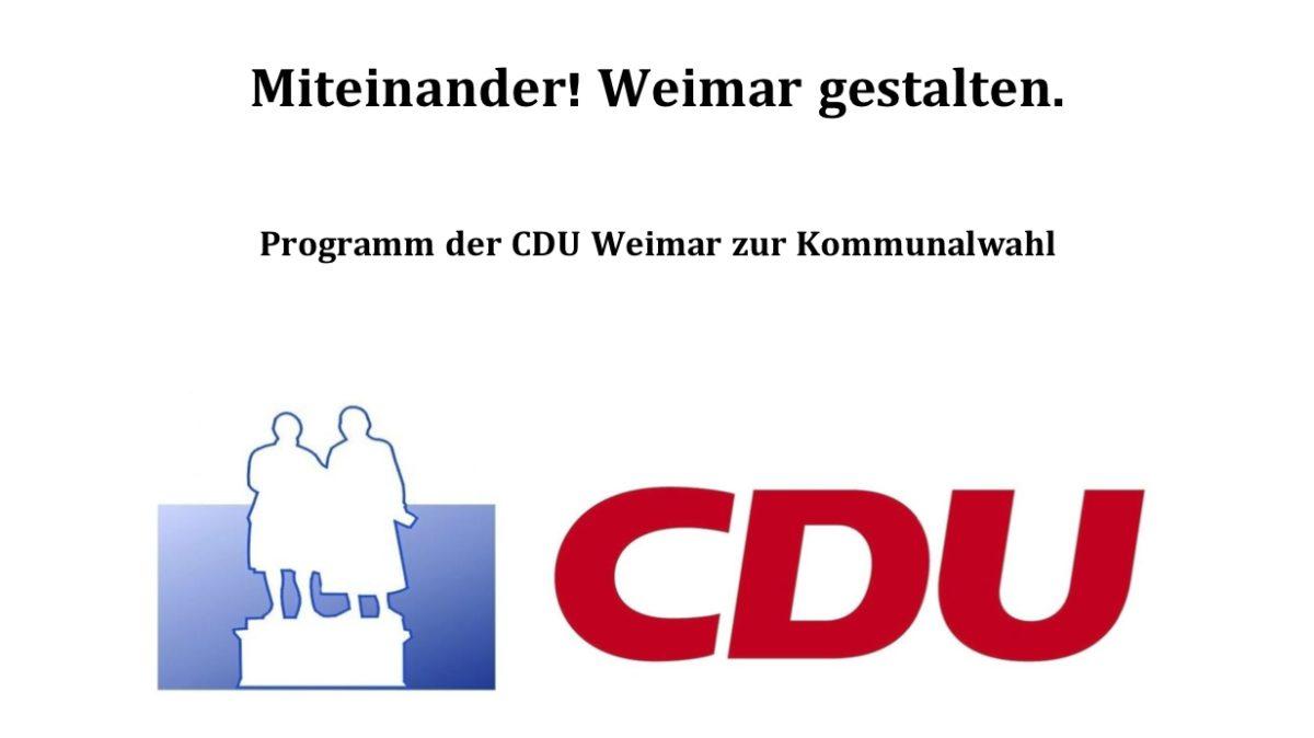 Miteinander! Weimar gestalten. - Kommunalwahlprogramm