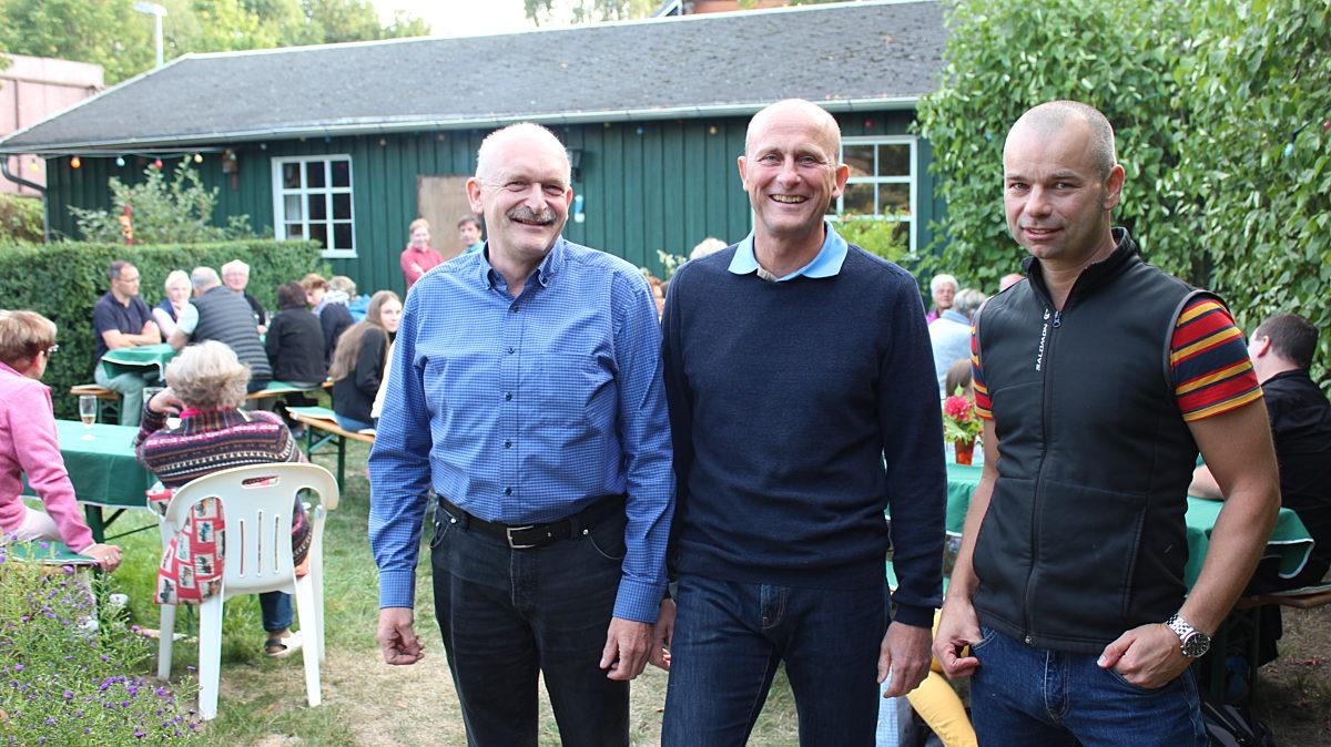Gastgeber Jörg Neudeck (l.) mit Volker Emde (M.) und Markus Hofmann