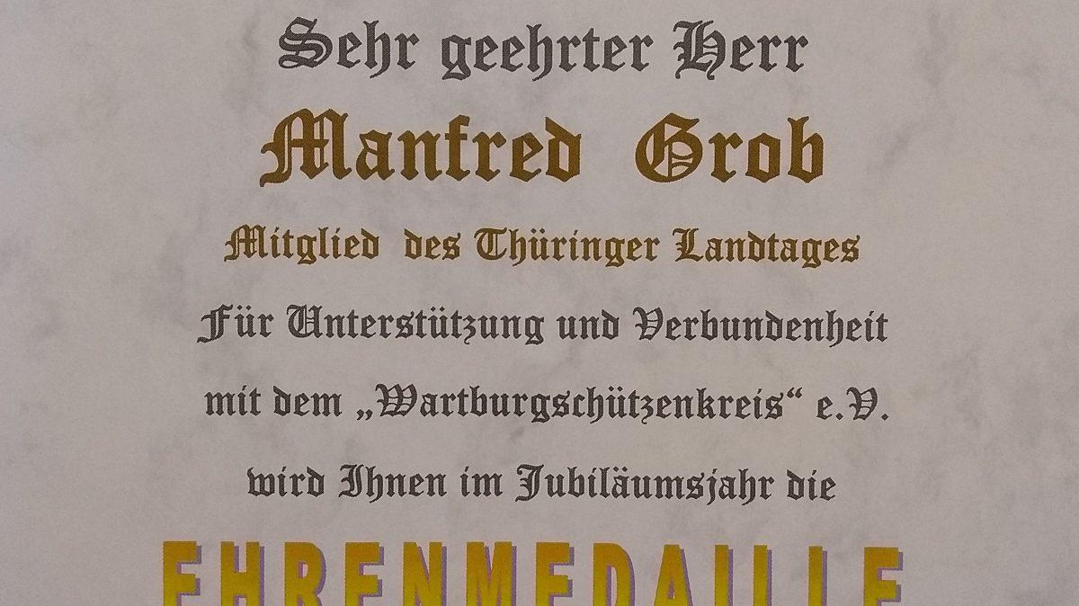 Ehrenmedaille für Manfred Grob